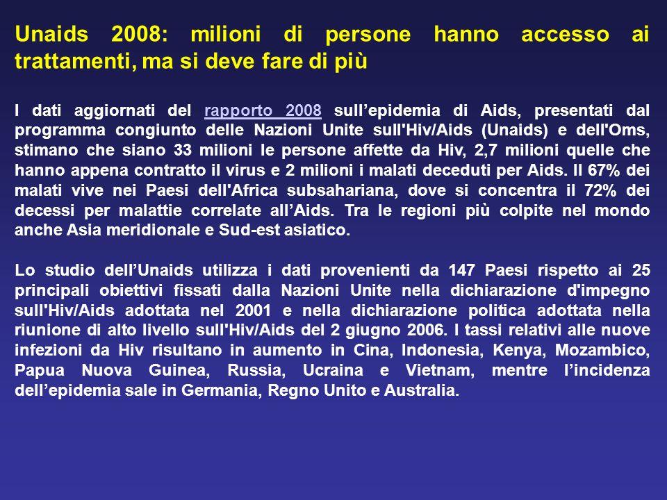 Unaids 2008: milioni di persone hanno accesso ai trattamenti, ma si deve fare di più