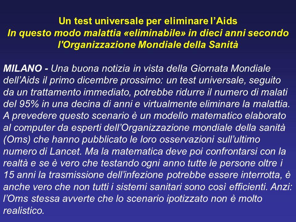 Un test universale per eliminare l'Aids