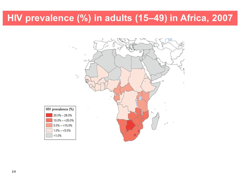 HIV prevalence (%) in adults (15–49) in Africa, 2007
