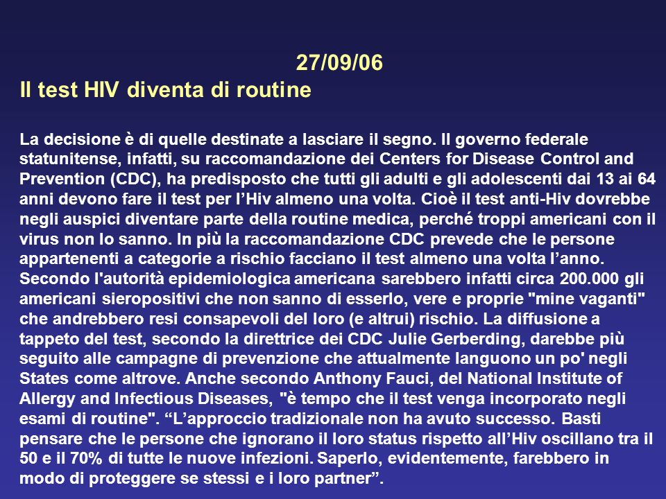 Igiene generale ed applicata ppt scaricare - Test hiv nat periodo finestra ...
