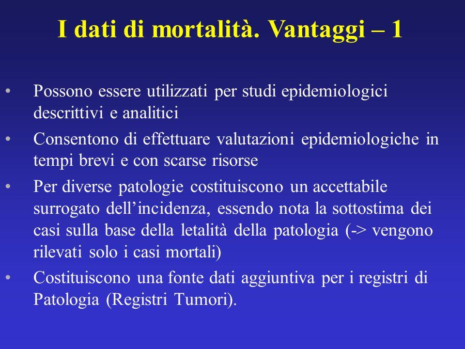 I dati di mortalità. Vantaggi – 1