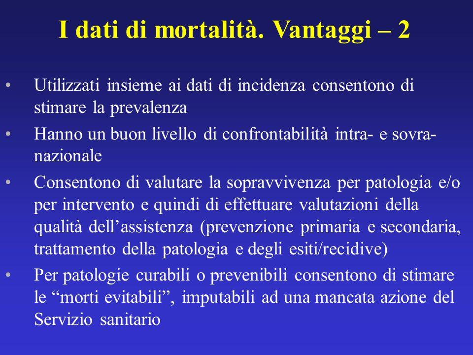 I dati di mortalità. Vantaggi – 2