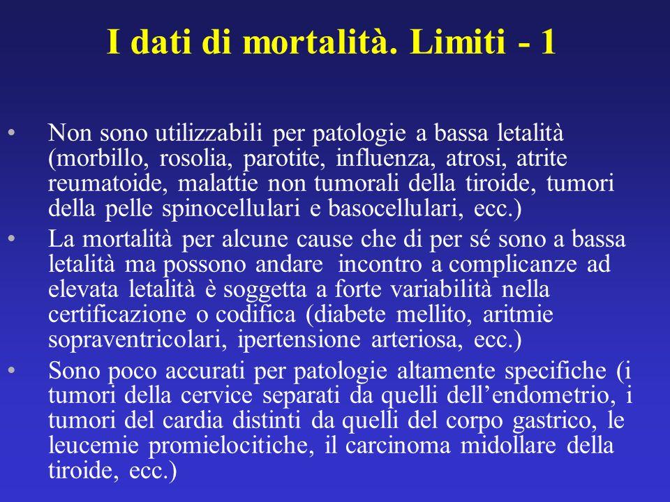 I dati di mortalità. Limiti - 1