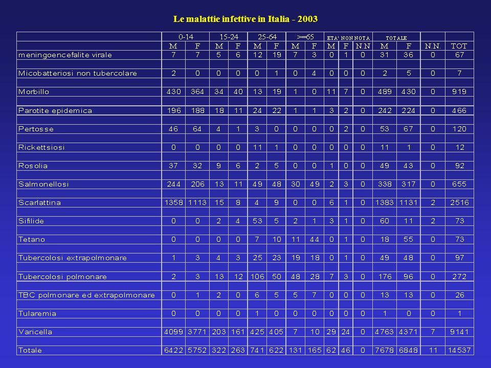 Le malattie infettive in Italia - 2003