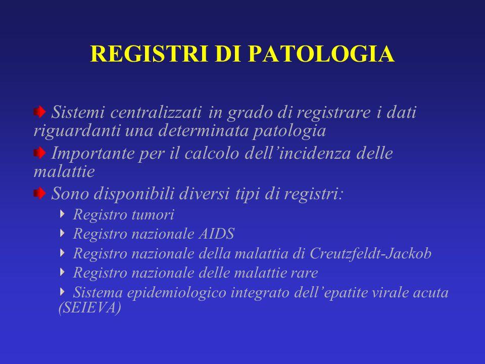 REGISTRI DI PATOLOGIA Sistemi centralizzati in grado di registrare i dati riguardanti una determinata patologia.