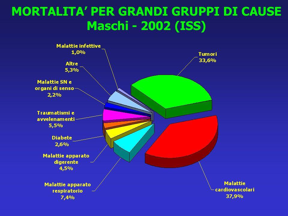 MORTALITA' PER GRANDI GRUPPI DI CAUSE Maschi - 2002 (ISS)