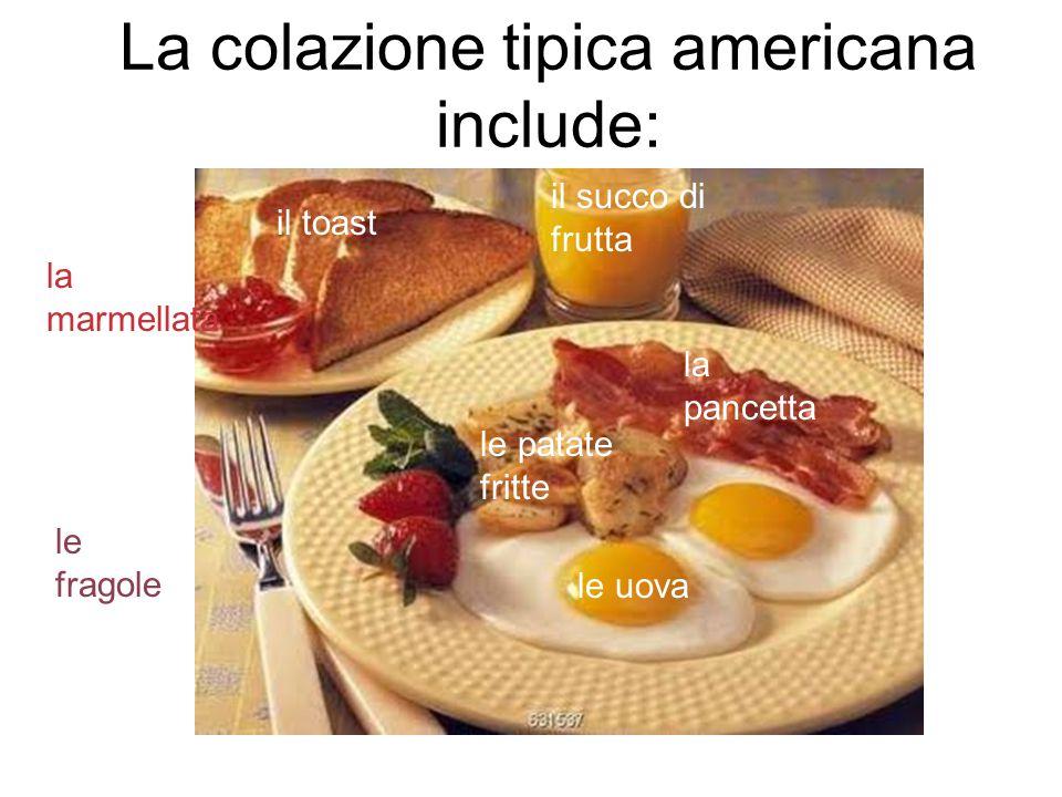 La colazione tipica americana include:
