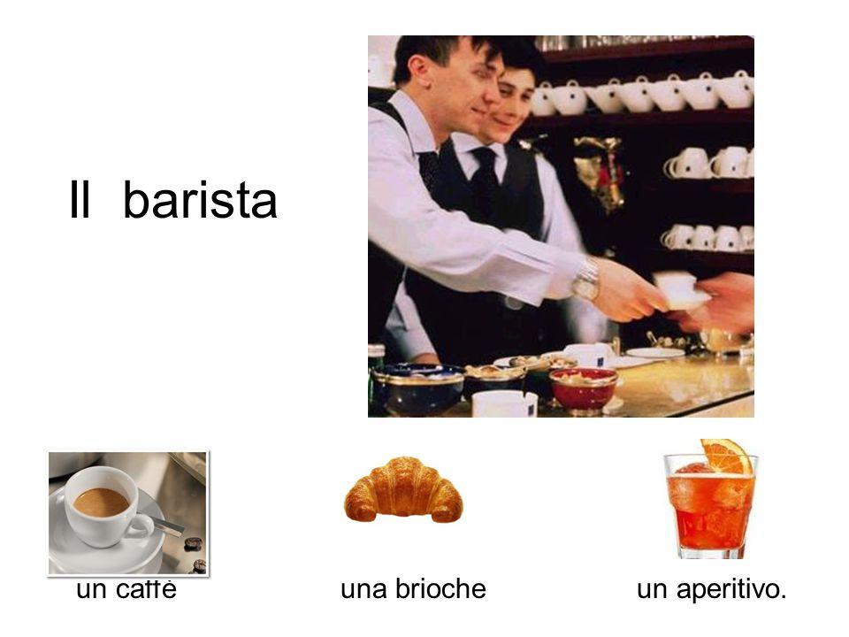 Il barista un caffè una brioche un aperitivo.