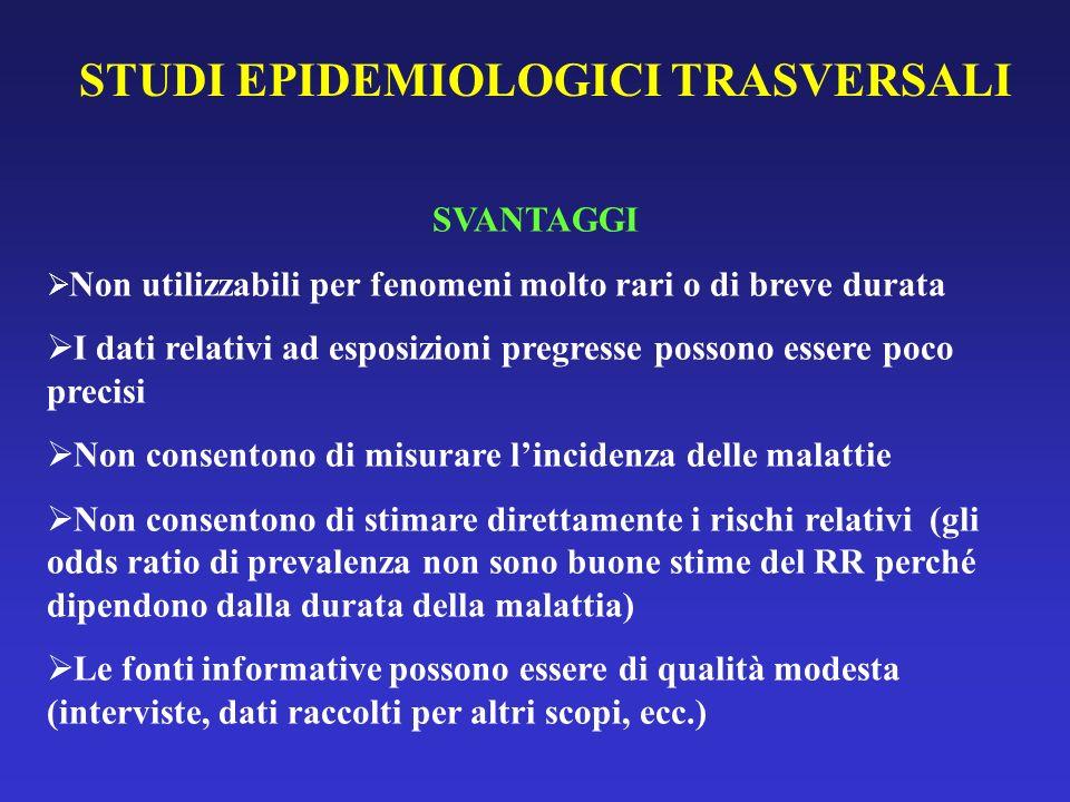 STUDI EPIDEMIOLOGICI TRASVERSALI