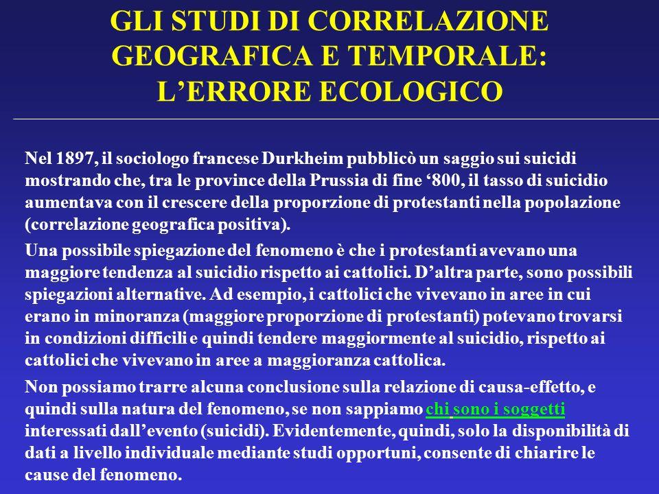 GLI STUDI DI CORRELAZIONE GEOGRAFICA E TEMPORALE: L'ERRORE ECOLOGICO