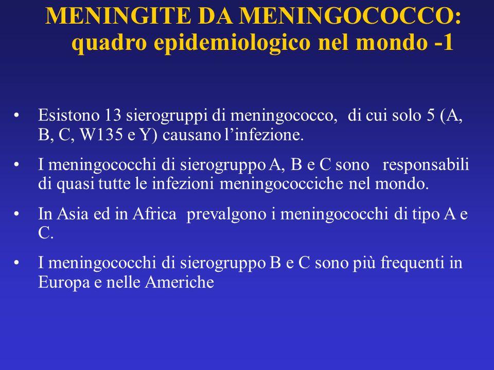 MENINGITE DA MENINGOCOCCO: quadro epidemiologico nel mondo -1