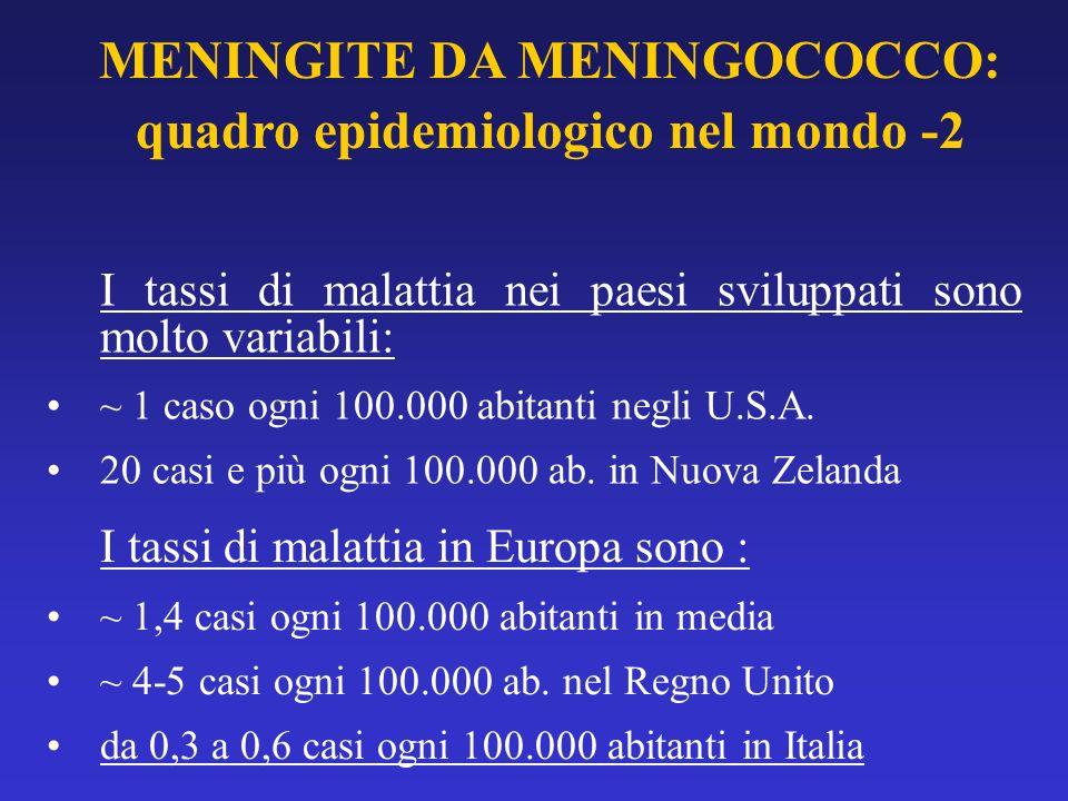 MENINGITE DA MENINGOCOCCO: quadro epidemiologico nel mondo -2