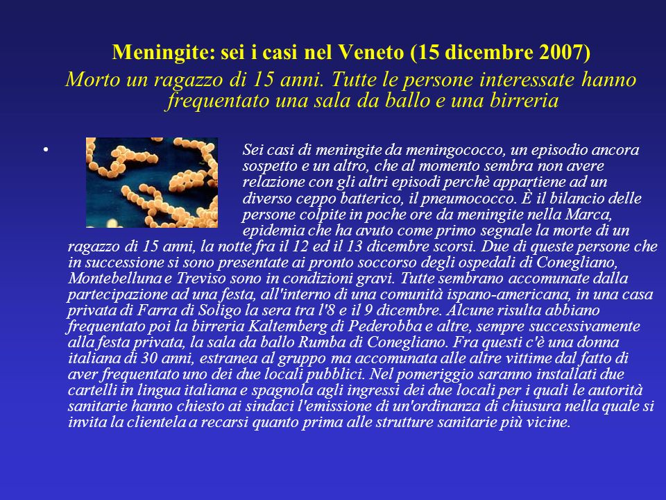 Meningite: sei i casi nel Veneto (15 dicembre 2007)