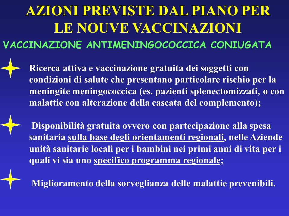AZIONI PREVISTE DAL PIANO PER LE NOUVE VACCINAZIONI