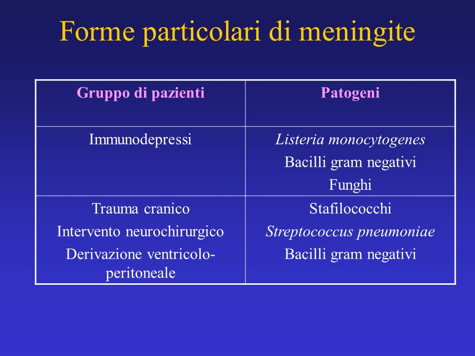 Forme particolari di meningite