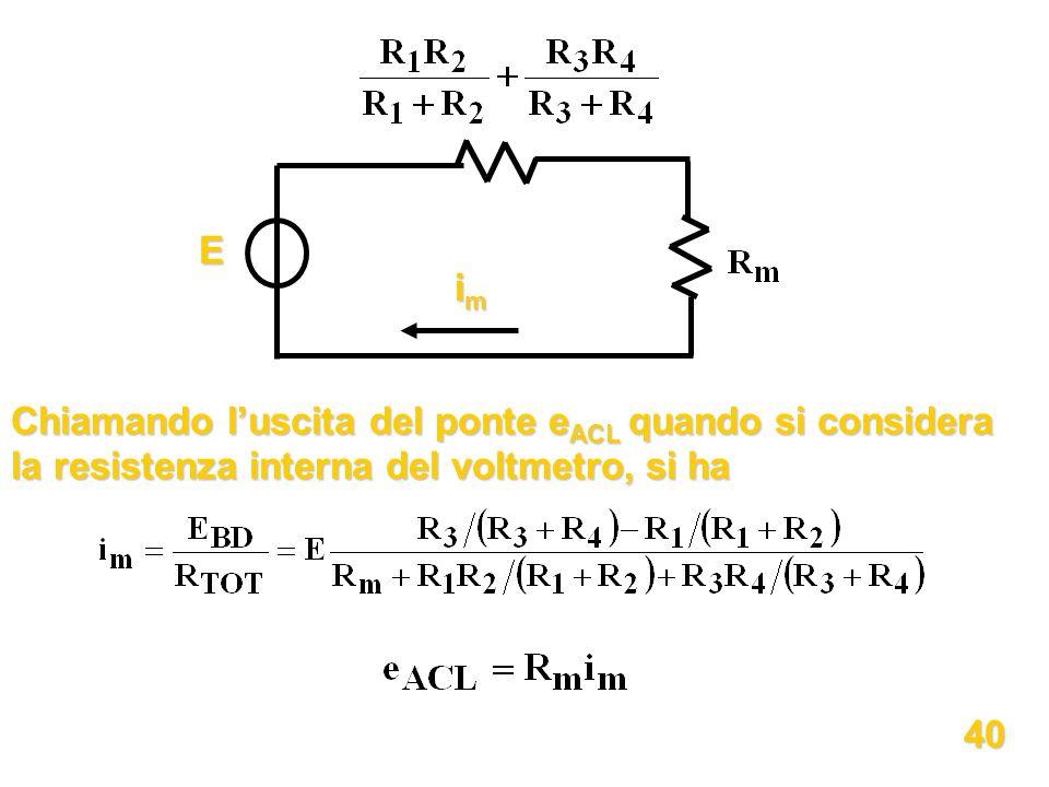 E im. Chiamando l'uscita del ponte eACL quando si considera la resistenza interna del voltmetro, si ha.