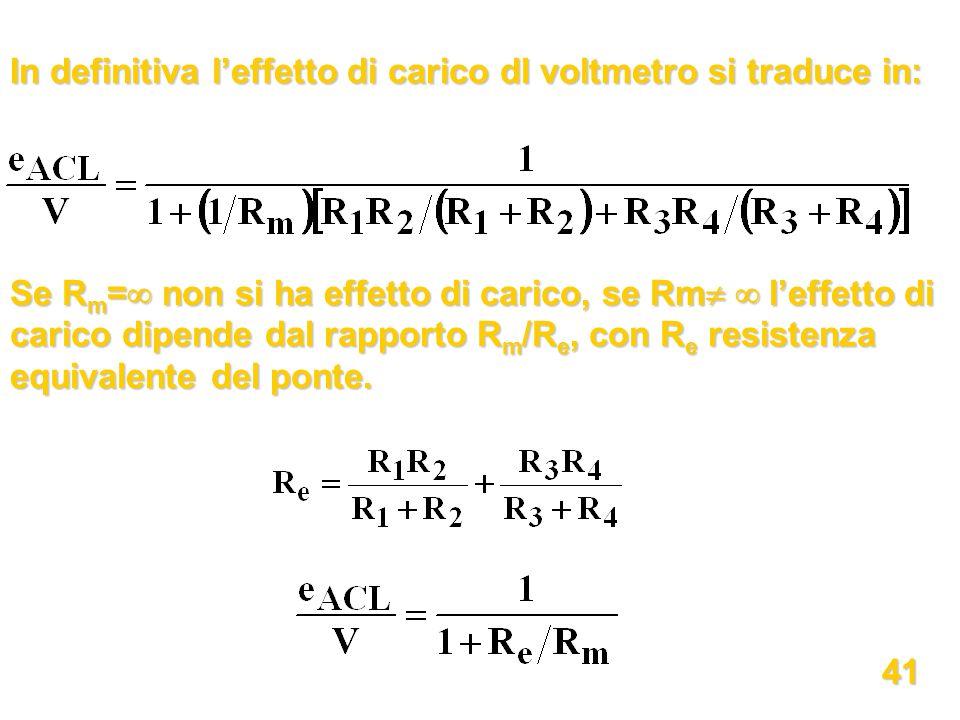 In definitiva l'effetto di carico dl voltmetro si traduce in: