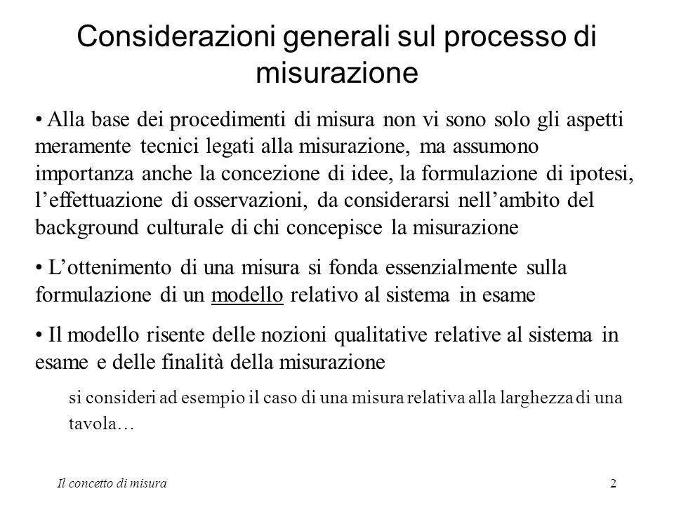 Considerazioni generali sul processo di misurazione