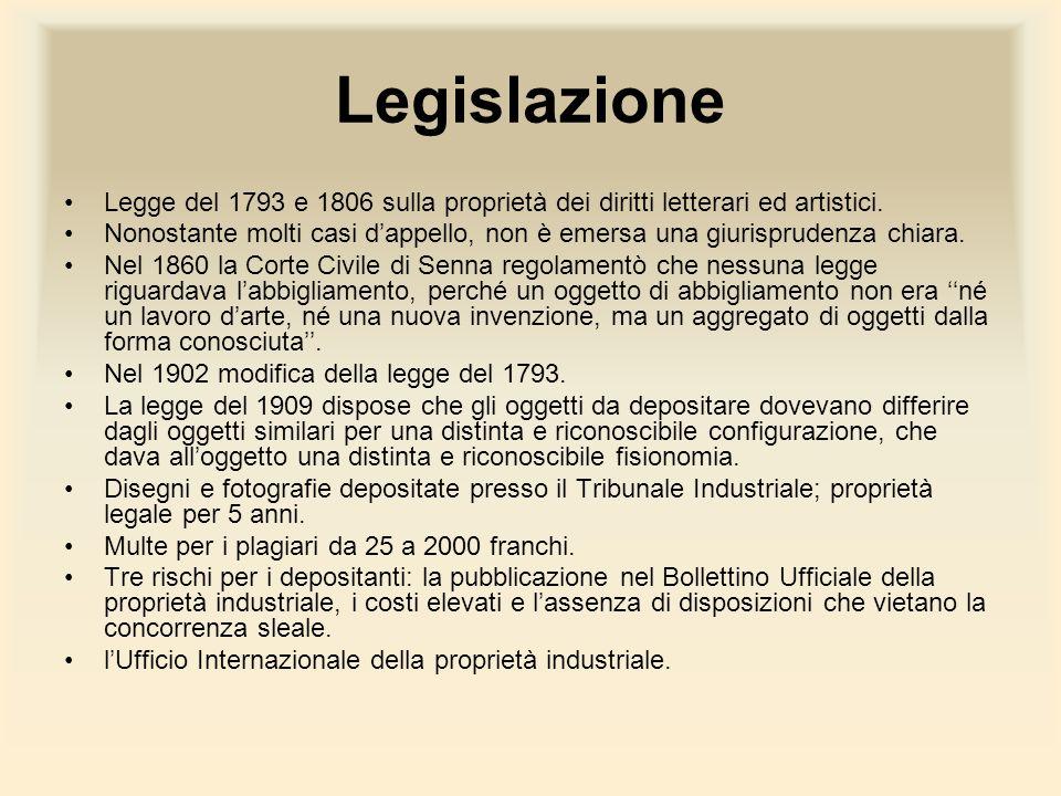 Legislazione Legge del 1793 e 1806 sulla proprietà dei diritti letterari ed artistici.