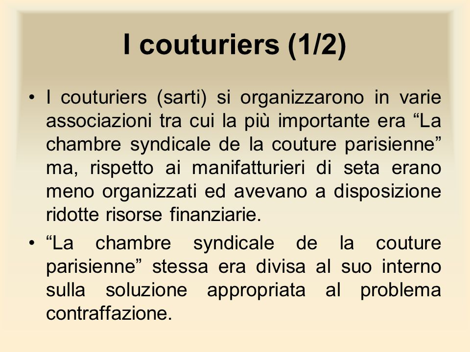 I couturiers (1/2)