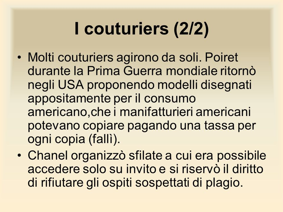 I couturiers (2/2)