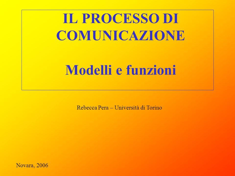 IL PROCESSO DI COMUNICAZIONE Modelli e funzioni