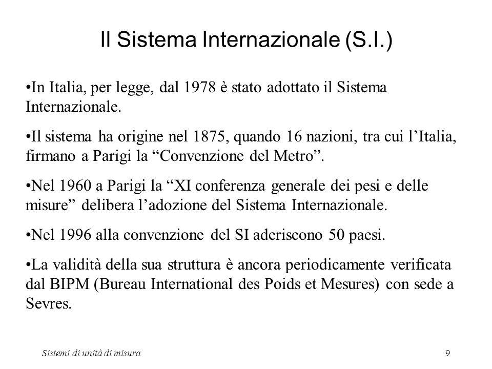 Il Sistema Internazionale (S.I.)