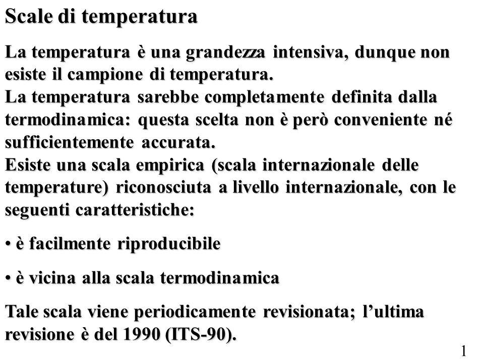 Scale di temperatura La temperatura è una grandezza intensiva, dunque non esiste il campione di temperatura.