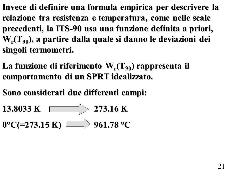 Invece di definire una formula empirica per descrivere la relazione tra resistenza e temperatura, come nelle scale precedenti, la ITS-90 usa una funzione definita a priori, Wr(T90), a partire dalla quale si danno le deviazioni dei singoli termometri.