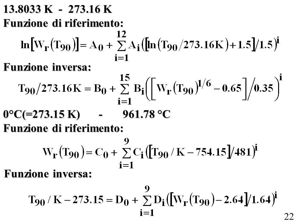 13.8033 K - 273.16 K Funzione di riferimento: Funzione inversa: 0°C(=273.15 K) - 961.78 °C. Funzione di riferimento: