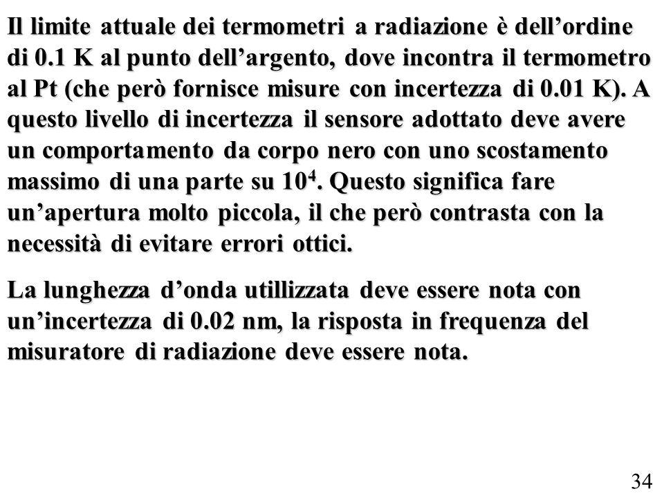 Il limite attuale dei termometri a radiazione è dell'ordine di 0