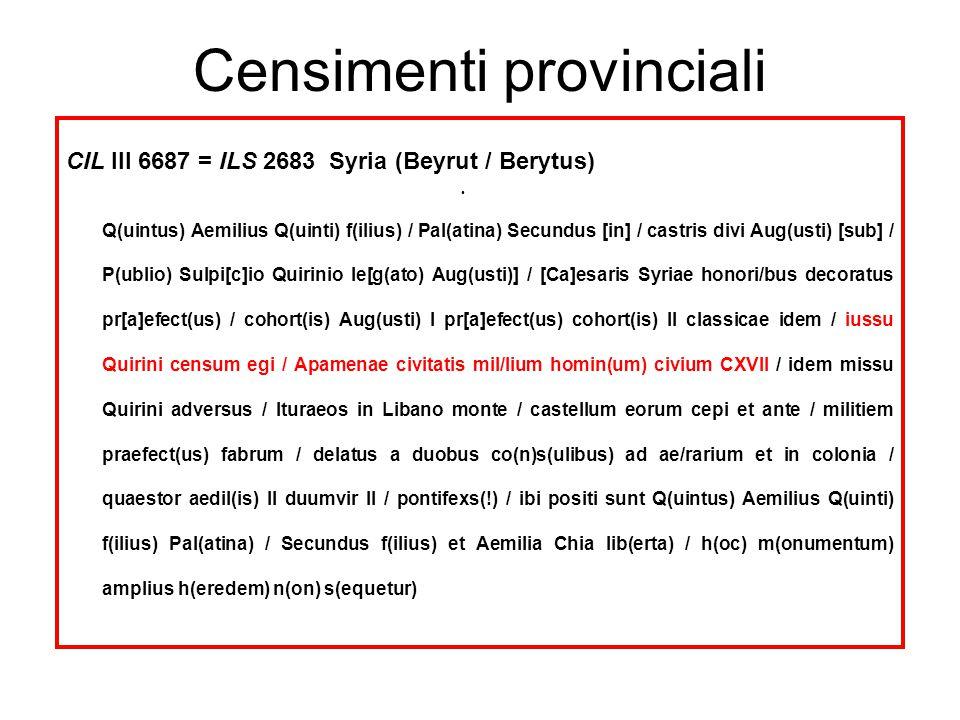 Censimenti provinciali