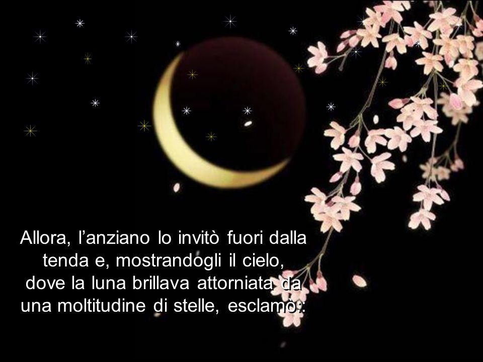 Allora, l'anziano lo invitò fuori dalla tenda e, mostrandogli il cielo, dove la luna brillava attorniata da una moltitudine di stelle, esclamò::
