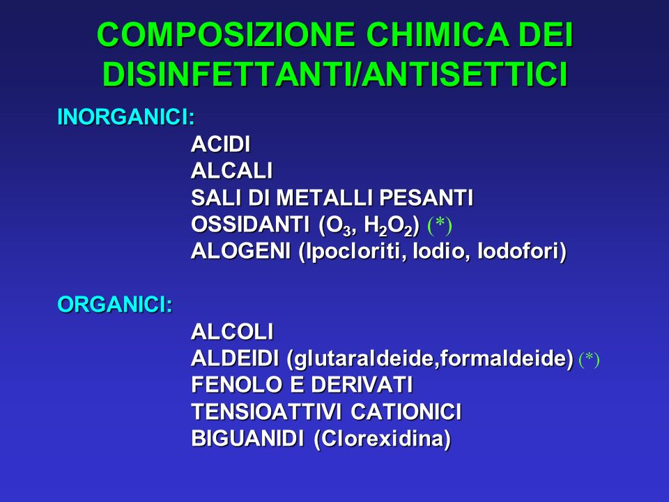 COMPOSIZIONE CHIMICA DEI DISINFETTANTI/ANTISETTICI