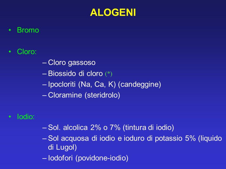 ALOGENI Bromo Cloro: Cloro gassoso Biossido di cloro (*)