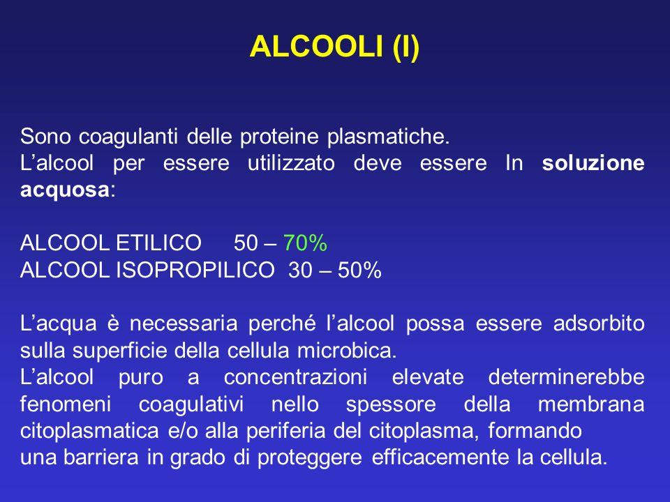 ALCOOLI (I) Sono coagulanti delle proteine plasmatiche.