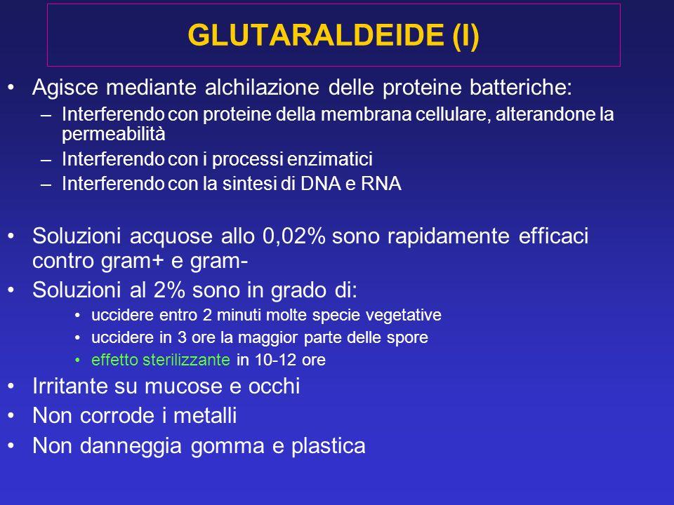 GLUTARALDEIDE (I) Agisce mediante alchilazione delle proteine batteriche: