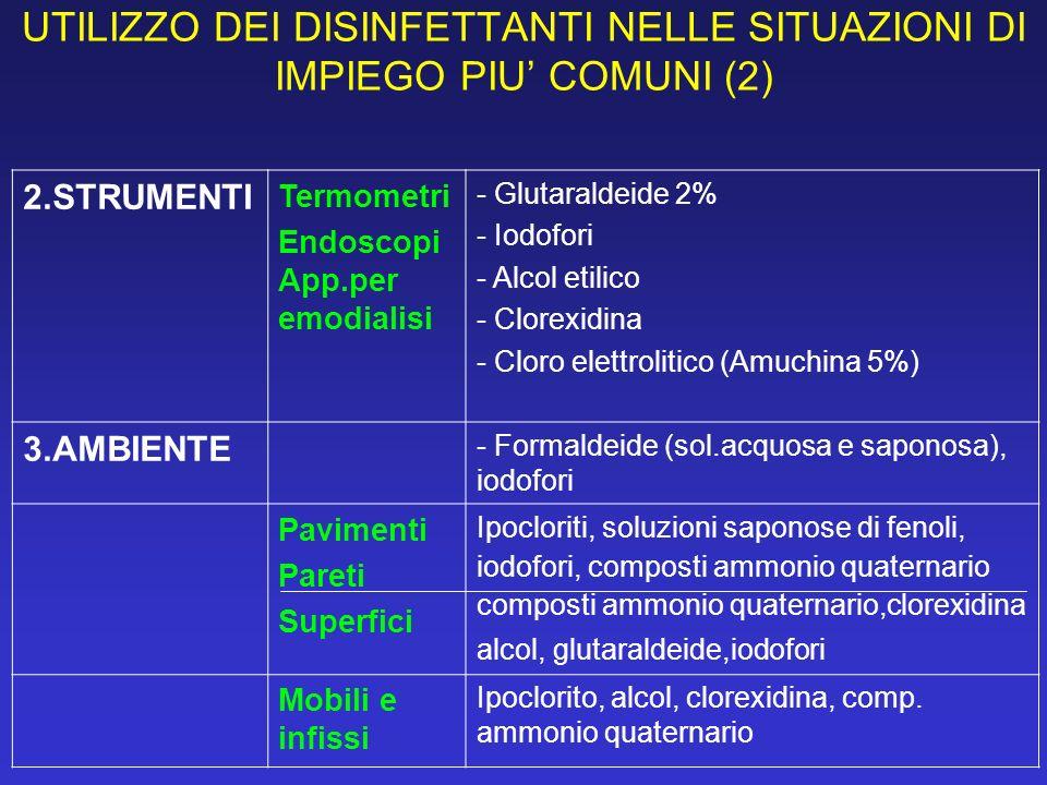 UTILIZZO DEI DISINFETTANTI NELLE SITUAZIONI DI IMPIEGO PIU' COMUNI (2)