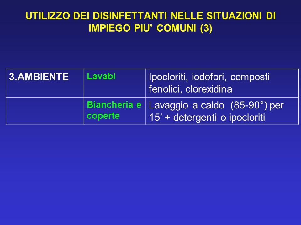 UTILIZZO DEI DISINFETTANTI NELLE SITUAZIONI DI IMPIEGO PIU' COMUNI (3)