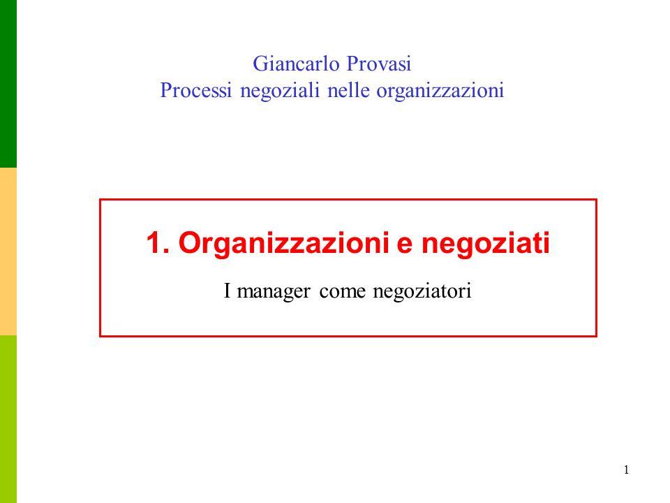 1. Organizzazioni e negoziati