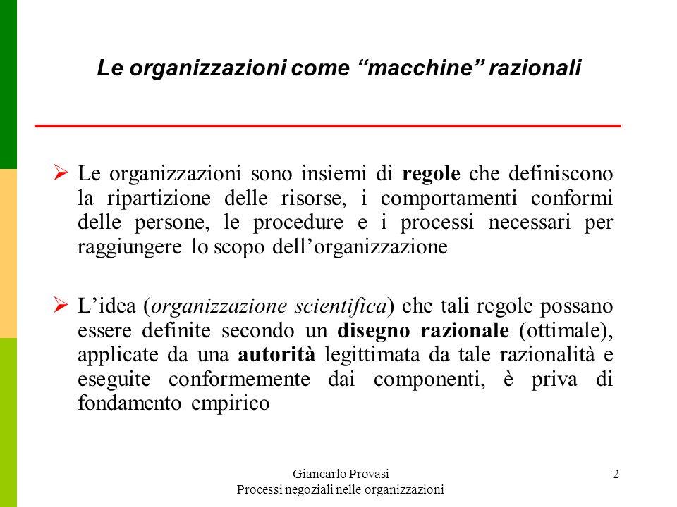 Le organizzazioni come macchine razionali