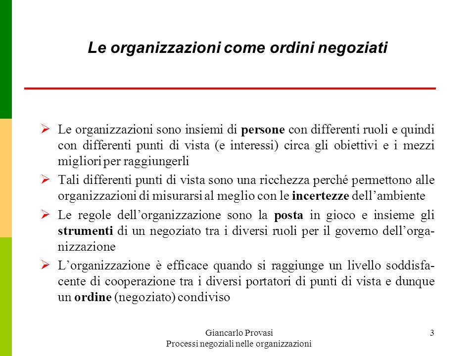 Le organizzazioni come ordini negoziati