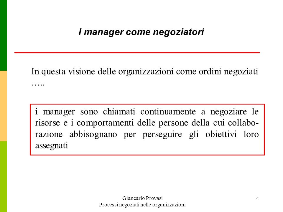 I manager come negoziatori