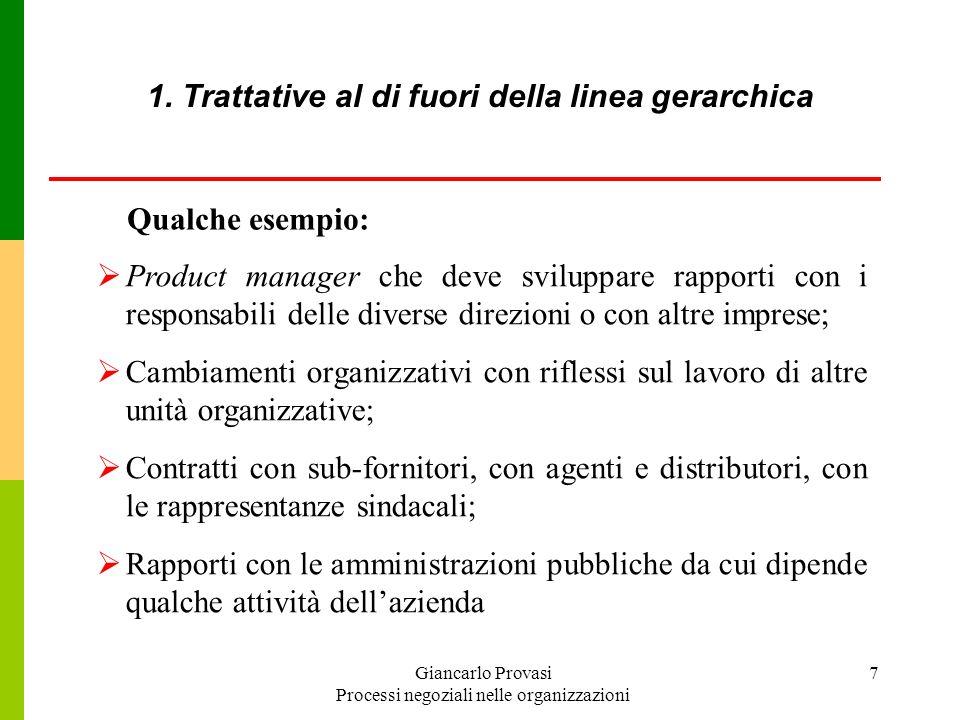 1. Trattative al di fuori della linea gerarchica