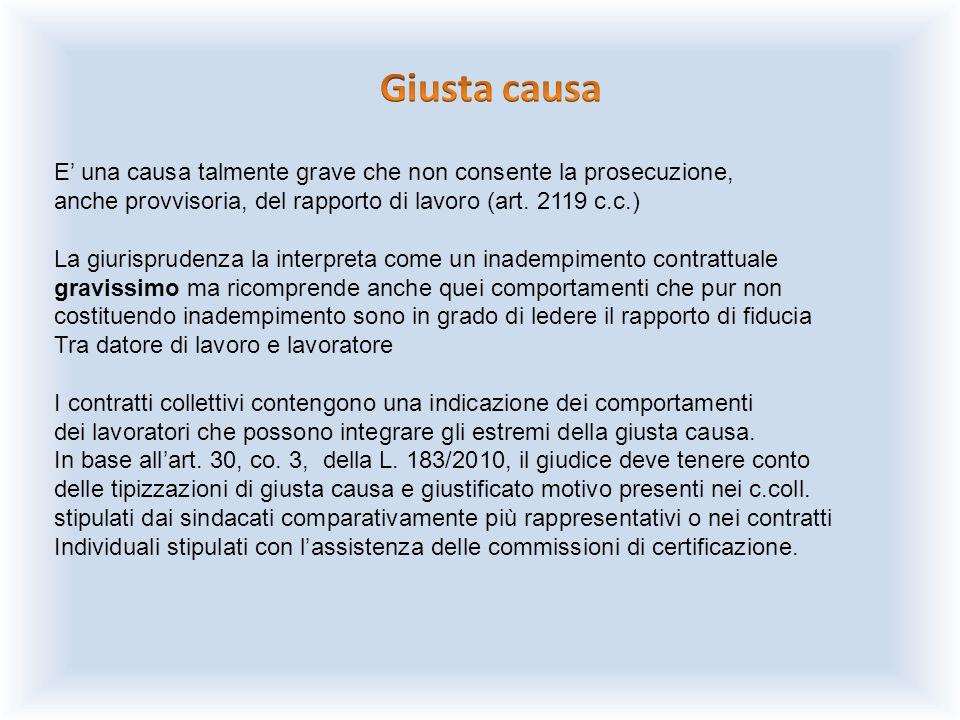 Giusta causa E' una causa talmente grave che non consente la prosecuzione, anche provvisoria, del rapporto di lavoro (art. 2119 c.c.)