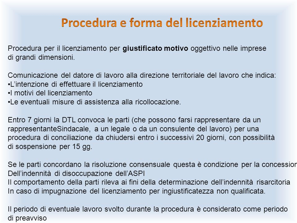 Procedura e forma del licenziamento