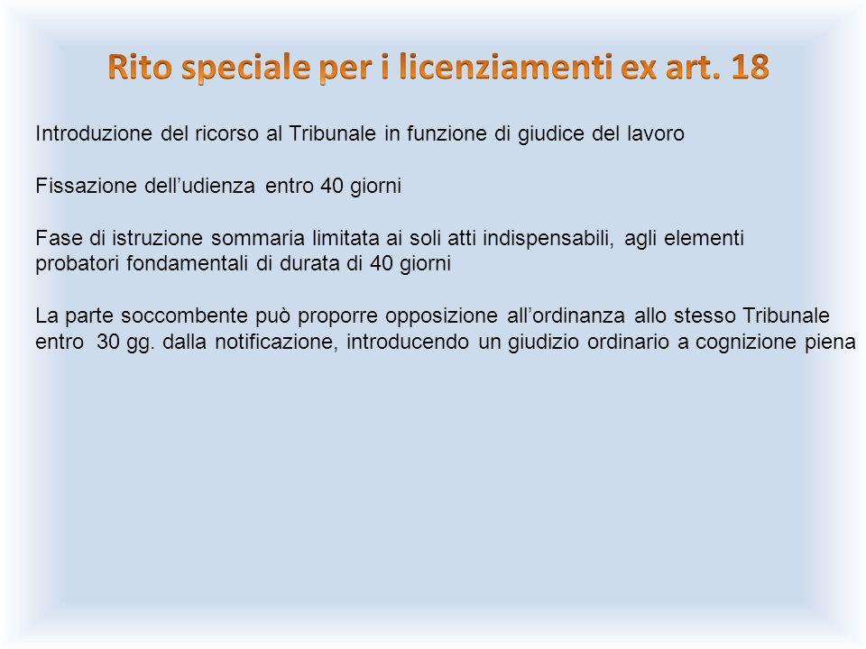 Rito speciale per i licenziamenti ex art. 18