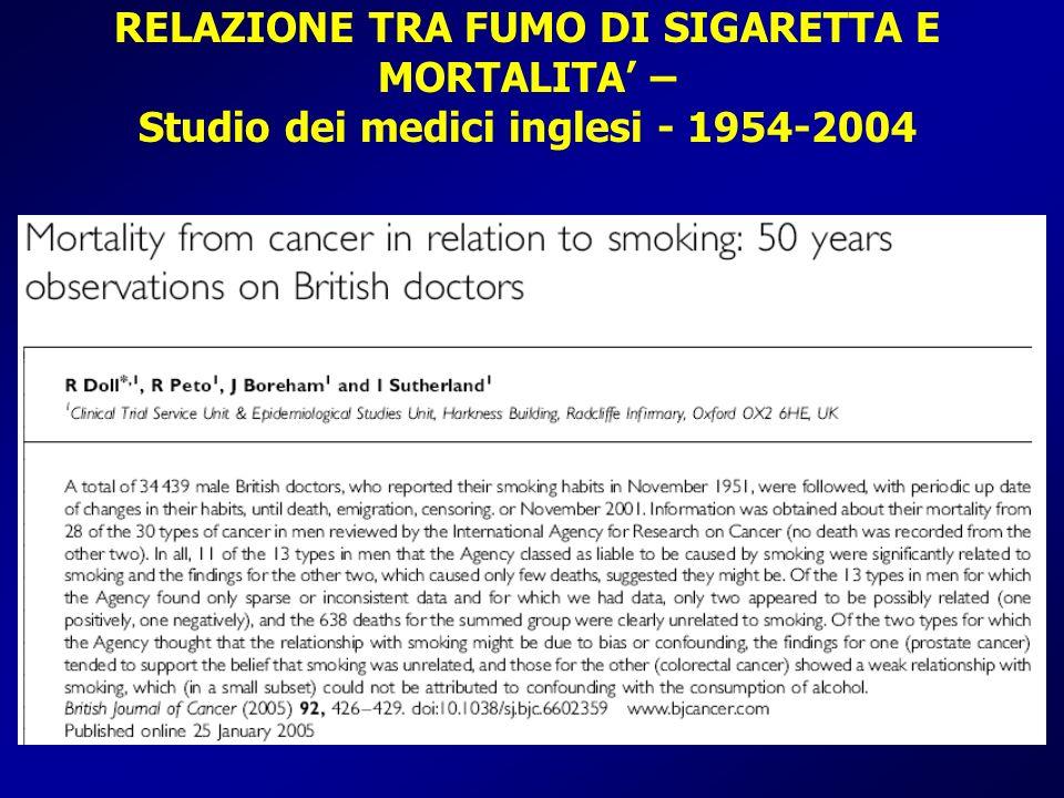 RELAZIONE TRA FUMO DI SIGARETTA E MORTALITA' – Studio dei medici inglesi - 1954-2004