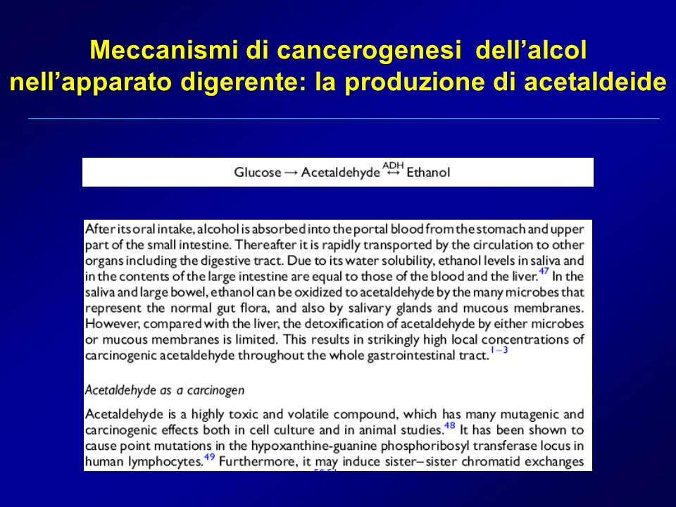 Meccanismi di cancerogenesi dell'alcol nell'apparato digerente: la produzione di acetaldeide