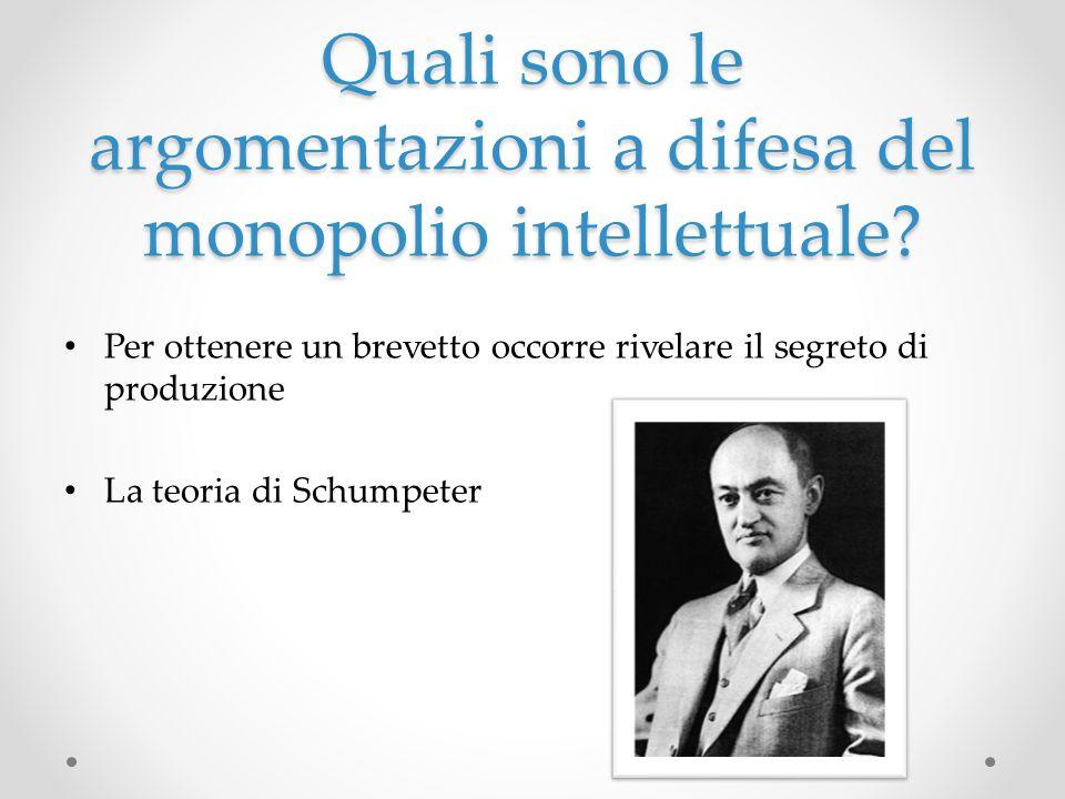 Quali sono le argomentazioni a difesa del monopolio intellettuale